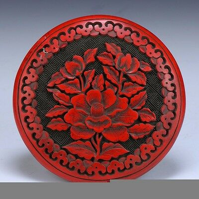 Antique Chinese Carved Red Floral Cinnabar Black Lacquer Lidded Box