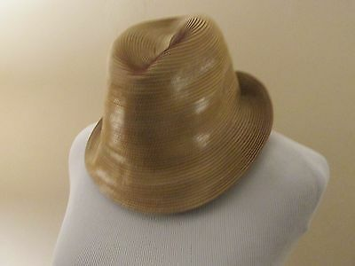 New  Soft Yellow Crushable Leather Strip Stitch  Trilby Hat - Men's size 7