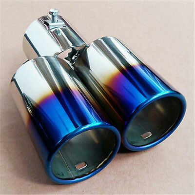 Universal Useful Chrome Stainless Steel Car Dual Exhaust Pipe Tail Tip Muffler