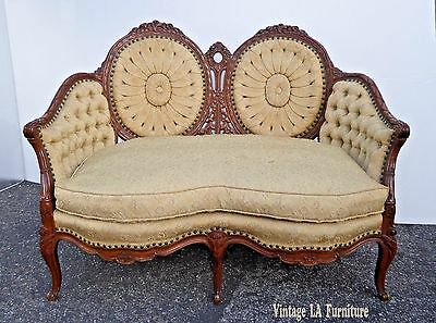 Vintage French Provincial Rococo Louis XVI Tufted Gold SETTEE Loveseat