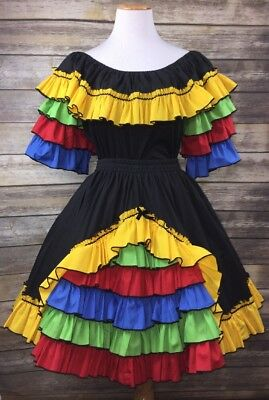 Vintage Mexican Fiesta Square Dance Outfit Tiered Ruffled Top Blouse Skirt Sz S