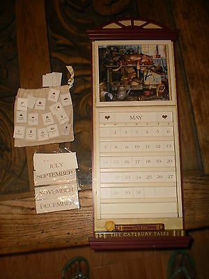 AMCAL, tall wooden calendar  w/Catbury Tales & Puss 'n boots, change the months