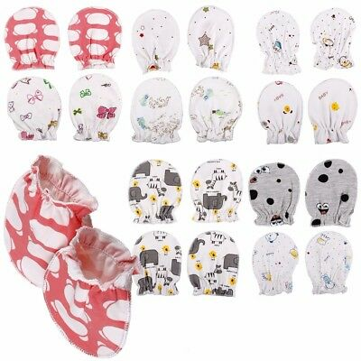 2 Pairs Of Soft Cotton Infant Newborn Baby Protective Mittens Gloves Washable