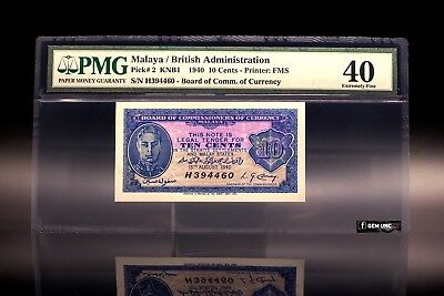 Rare 1940 Malaya King George Emergency Issue 10 Cents PMG 40 P-3 Extremely Fine