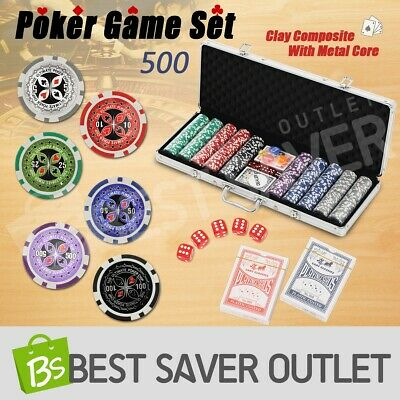Poker Card Game Play Set Aluminium Carry Case Casino Chip Dice Gamble 500 Chips