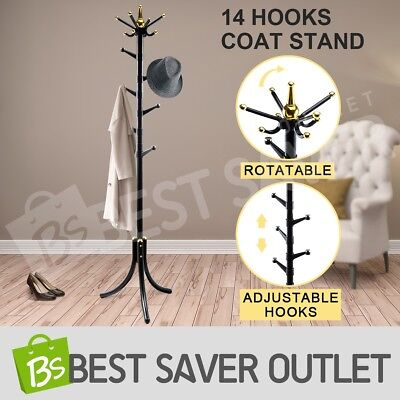 Tree style Metal Coat Rack Stand Hat Bag Clothes Umbrella 14 Hooks Black
