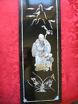 Two Old  Collectable Antique  Chinese Mother of Pearl Inlay &  Lacquer Pictures