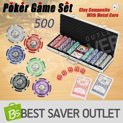 500 Chip Set Poker Dice Game Play Set Casino Chips Gamble Aluminium Case Size
