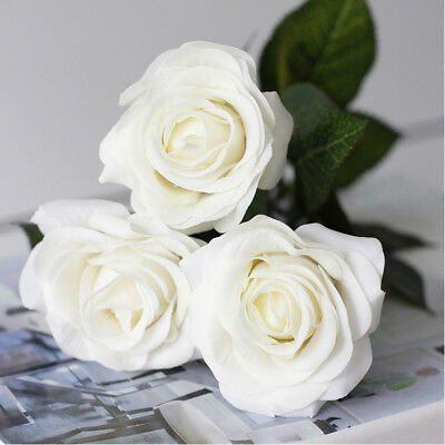 AU 10 Head Lifelike Artificial Rose Real Touch Latex Rose Flowers Wedding Decor