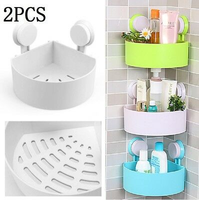 2X Bathroom Corner Shelf Suction Shower Rack Organizer Cup Storage Wall Basket