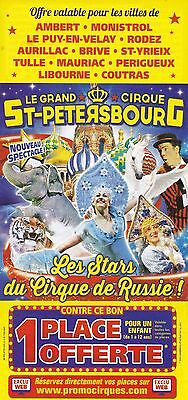 Le Grand Cirque St. Petersbourg / Russie - Circus Flyer / Tract Publicitaire