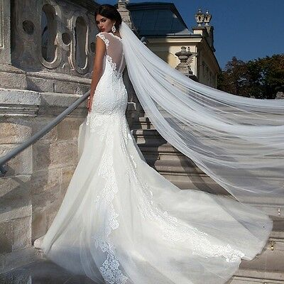 New IVORY 1T 3m Bridal Cathedral Veil With Comb Clear Cut