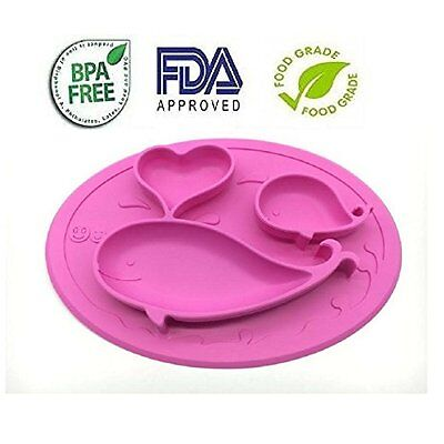 Kids Silicone Placemat Whale Plate Tray for Infants Toddlers Durable Adorable