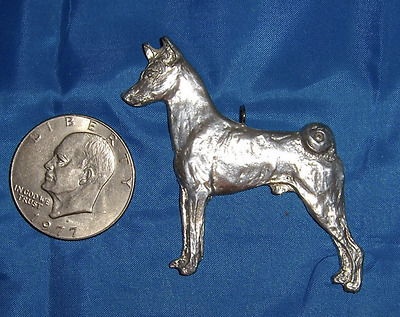 Pewter BASENJI pendant or ornament, Signed by DAMARA (Bolte)