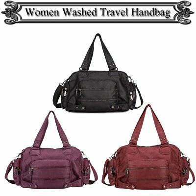 Womens Bags Washed Leather Tote Soft Ladies Handbag Hobo Crossbody Free Shipping