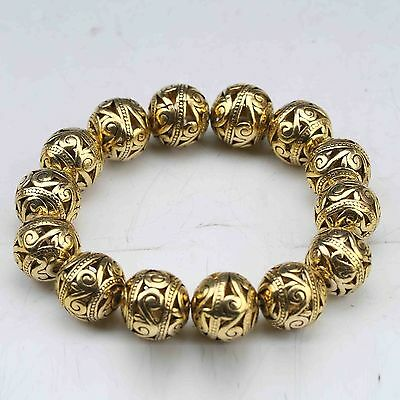 Old Tibet Brass Gold-plated Hand Carved Hollow small ball Bracelet