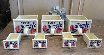 ON SALE Spice Canisters A French Vintage Set of 7 Ceramic Drawers -g129