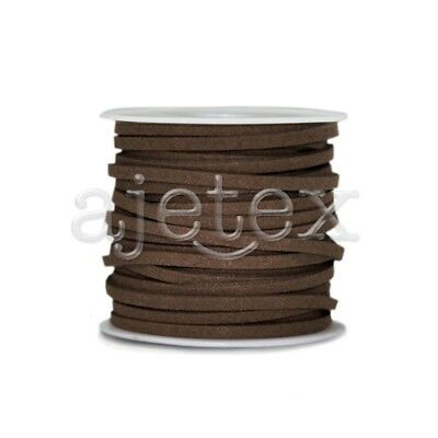 1 Roll 5M Faux Suede Wire Cord String Jewellery Beading 3mmx1.5mm Dark Coffee