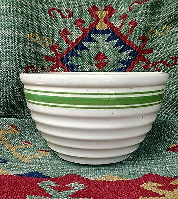 Antique/Vintage L Cream Green Bands Bee Hive Ribbed  Mixing Bowl