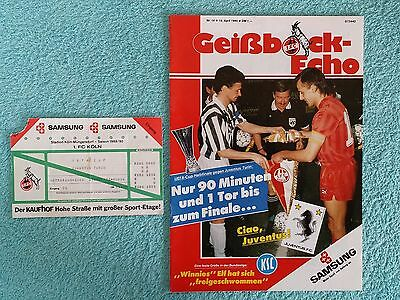 1990 - UEFA CUP SEMI FINAL 2ND LEG PROGRAMME + MATCH TICKET - FC KOLN v JUVENTUS