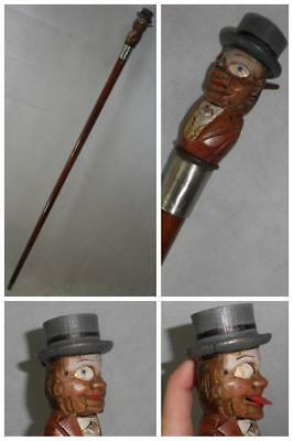Charming Antique Novelty Comedic Top Gadget Cane - Moving Eyes + Tongue -91cm
