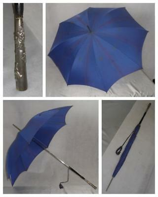 "Vintage ""st Michael's Navy/blue Umbrella-All Solid- Squirrel Theme Detail Handle"