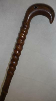 *vintage Carved Twisted Bamboo Cane With Bird Top
