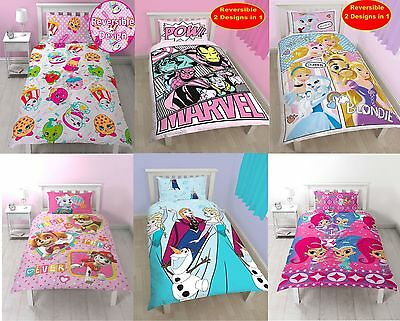 Girls Kids Single 2 In 1 Reversible Duvet Cover & Pillow Case Bedding Set