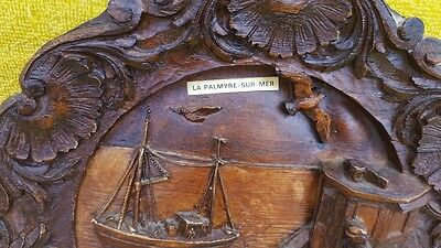 Antique French hand Carved Wooden Plate La Palmyre sur mer, Wall plaque