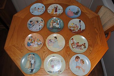 NORMAN ROCKWELL PLATES: THE AMERICAN FAMILY SERIES 1; ALL 12 in EXCELLENT COND.
