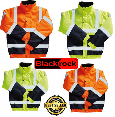 HI VIZ VIS VISIBILITY Two Tone CONTRACTOR SAFETY Bomber JACKET Coat WATERPROOF