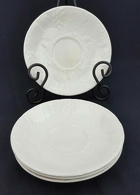 """Davenport """"Burleigh"""" Saucers 6 3/8"""" Set of 4 White Embossed Grapes Strawberries"""