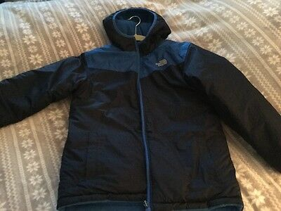 Boys North Face Navy And Blue Reversible Jacket Coat Size XL 18-20
