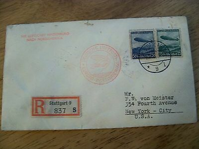 1936 Germany Postmarks With Hindenburg Stamps On Envelope To New York Registered
