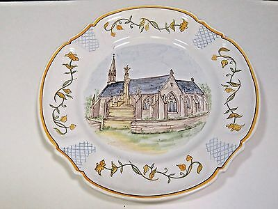 "Quimper Noel Plate 1985 Numbered Chapelle De Quilinen 9.75""  RARE HTF"