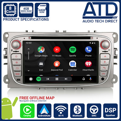 """7"""" Android 8.0 4GB SatNav GPS DAB Radio WiFi Stereo For Ford Mondeo Mk4 Focus ST"""