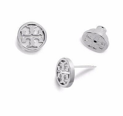 Tory Burch LOGO-CIRCLE STUD EARRING Silver