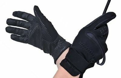 HKM German Strong Super Grip Riding Gloves in Black - Soft Stretchy & strong