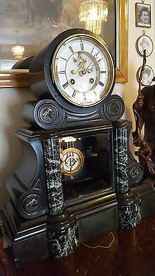 french slate & marble mantle clock