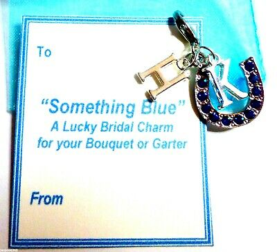 Something Blue Good Luck Horseshoe Charm & Initials for Bridal Garter or bouquet
