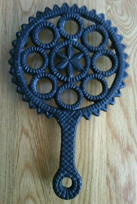 Vintage Black Cast Iron Trivet, Basket Weave, Wheel Spoke, and Saw Tooth Design
