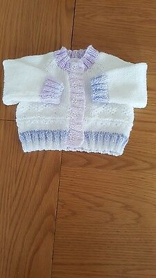 Hand knitted baby cardigan 0-3 months white/lilac