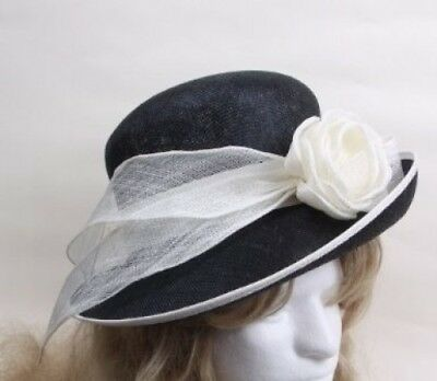 Cinnamay Women's Hat with Cinnamay Rose and Ribbon - Navy. Shipping is Free