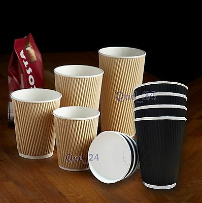 Disposable Coffee Cups Insulated Ripple Paper Cardboard Brown Black 3ply Hot Tea