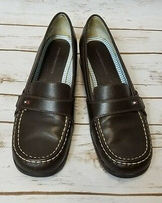 TOMMY HILFIGER Brown Leather Loafers US Sz Women 10 solid Low Med