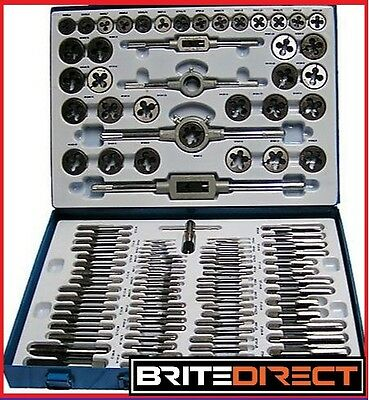 TAP AND DIE METRIC SET 110 Pc ENGINEERS PRO KIT Screw Bolt Cutter Metal Case