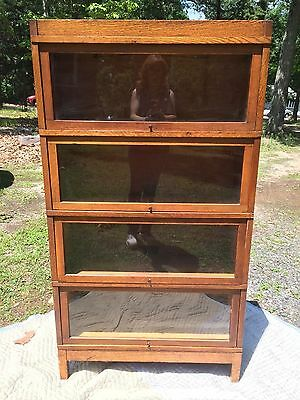 GLOBE WERNICKE Mission QUARTER SAWN OAK Barrister 4 Four Stack BOOKCASE Lovely!
