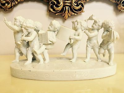 Antique Royal Vienna? White Porcelain Putti Musical Instrument Grouping Figurine
