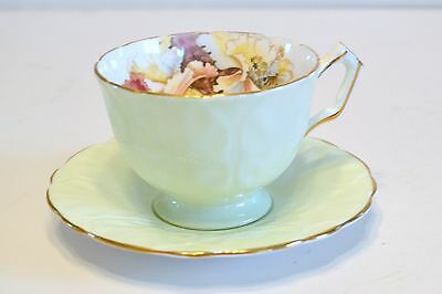 Aynsley Tea Cup And Saucer Bone China - Green With Floral Design - Foxgloves