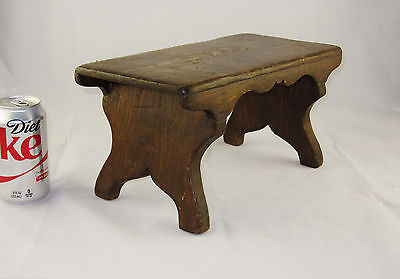 "Small Antique Wooden Foot Stool * Step Stool * Child's Bench * Only 6 1/2"" Tall"